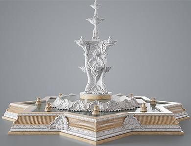 نافورة الشيشان والديكور نافورة الرخام تصميم 3D