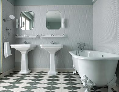 Diseño del baño del hotel Bachaumont