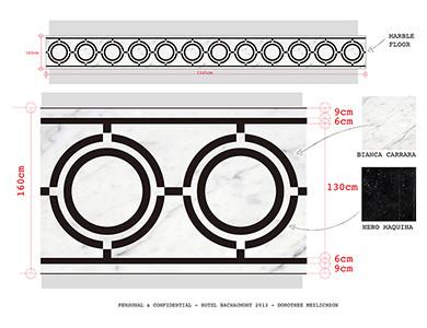 Diseño de medallón de chorro de agua de mármol del hotel Bachaumont