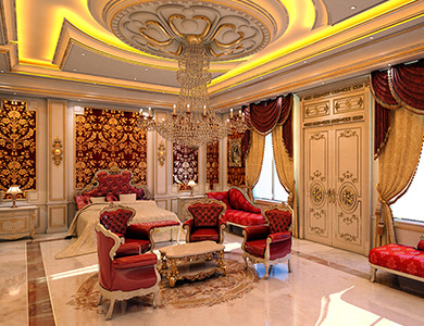 Private Palace And Majlis master bedroom design