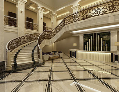 Qatar Curved Staircase 3d design