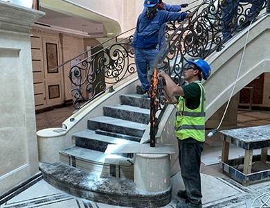 Curved Staircase Under Installation By PFM Team
