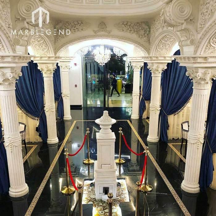 PFM Project Round Roman Column Design Natural Stone White Marble Pillars