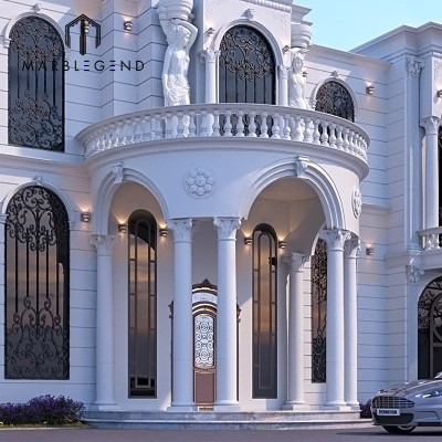 Classical Style Grand Entrance Decoration Natural Roman Columns Stone Porticos