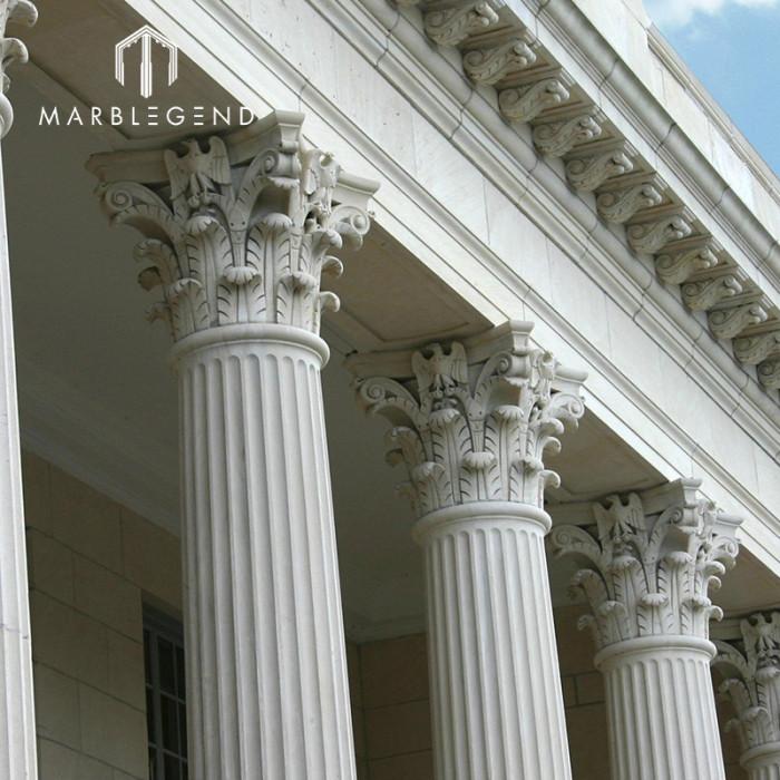 Luxury Villa architecture Decoration Natural Marble Stone Round Roman Column Capital