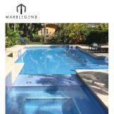 Light blue iridescent blend glass mosaic tile antislip glass mosaic tiles for swimming pool price