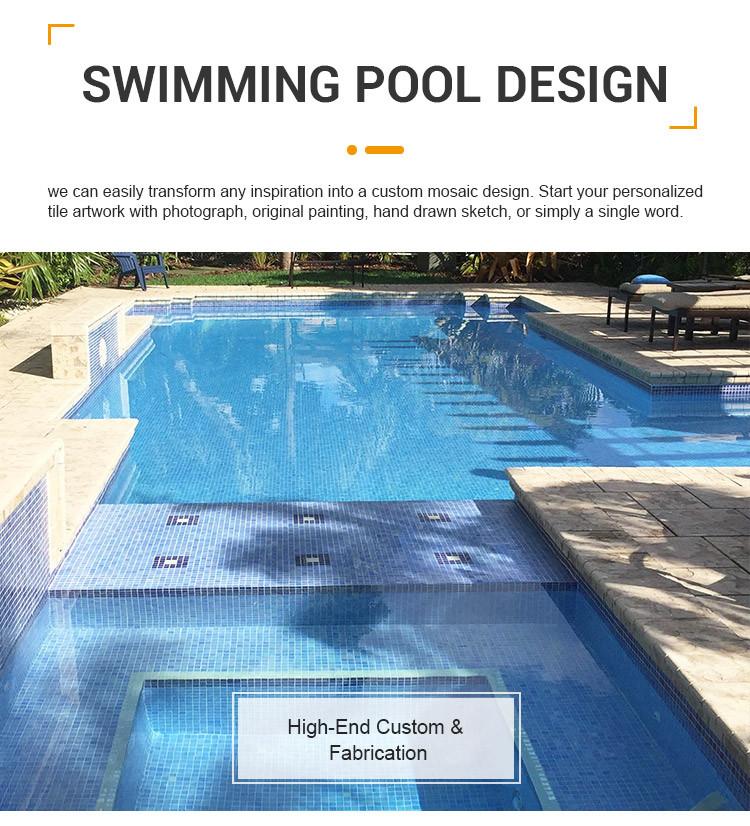 Light blue iridescent blend glass mosaic tile antislip glass mosaic tiles for swimming pool price-1