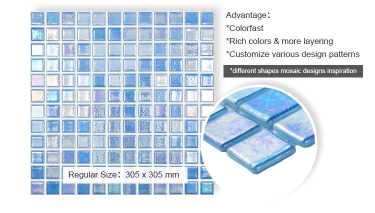 Light blue iridescent blend glass mosaic tile antislip glass mosaic tiles for swimming pool price-2