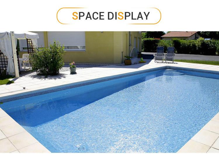 Light blue iridescent blend glass mosaic tile antislip glass mosaic tiles for swimming pool price-3