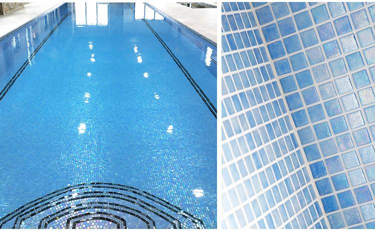 Light blue iridescent blend glass mosaic tile antislip glass mosaic tiles for swimming pool price-4