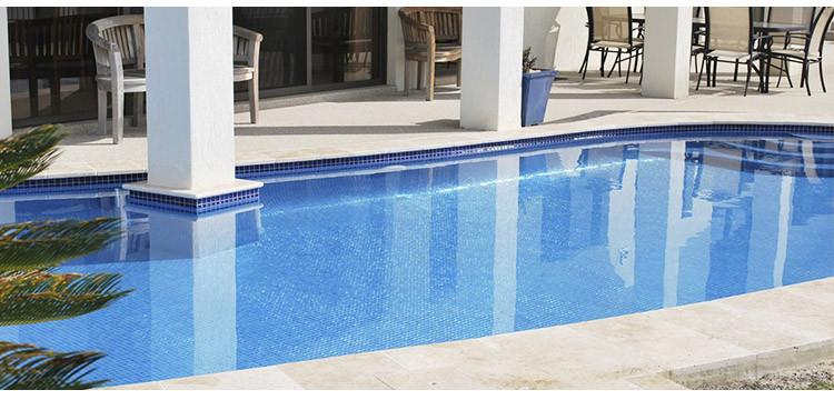 Light blue iridescent blend glass mosaic tile antislip glass mosaic tiles for swimming pool price-5