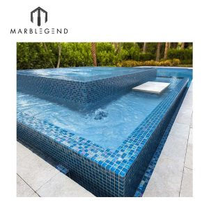 customized transparent lightwaves blue glass mosaic tiles for swimming pool price