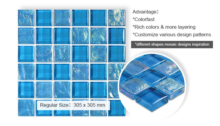 customized transparent lightwaves blue glass mosaic tiles for swimming pool price-2