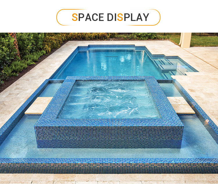 customized transparent lightwaves blue glass mosaic tiles for swimming pool price-3