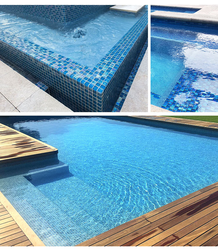 customized transparent lightwaves blue glass mosaic tiles for swimming pool price-4