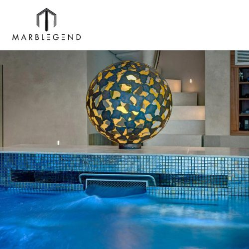 Luminescent iridescent clear glass swimming pool mosaic tiles for private villa