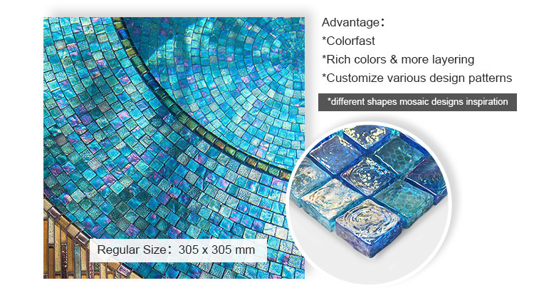 Luminescent iridescent clear glass swimming pool mosaic tiles for private villa-2