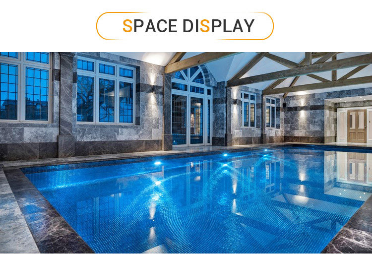 Luminescent iridescent clear glass swimming pool mosaic tiles for private villa-3