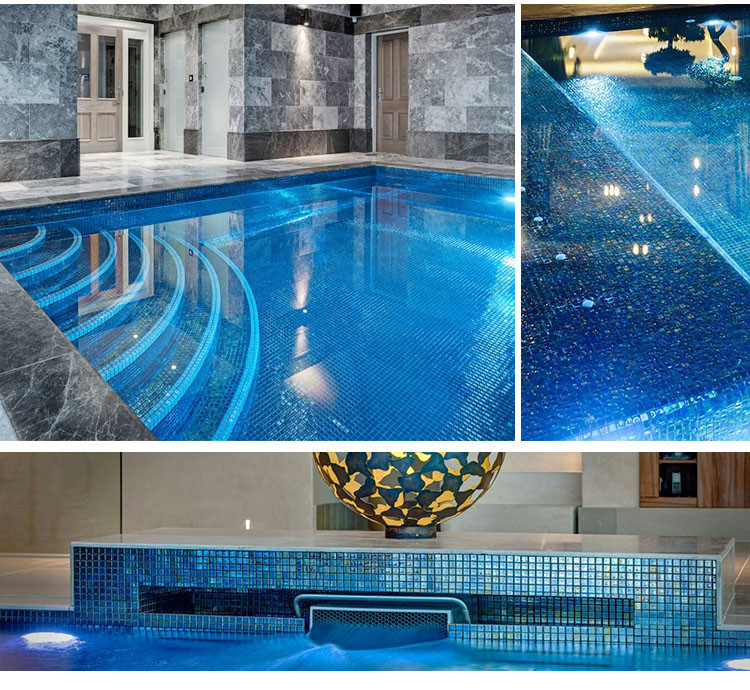 Luminescent iridescent clear glass swimming pool mosaic tiles for private villa-4