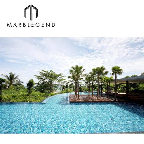 Custom blue square crystal glass swimming pool mosaics for luxury villa swimming pool