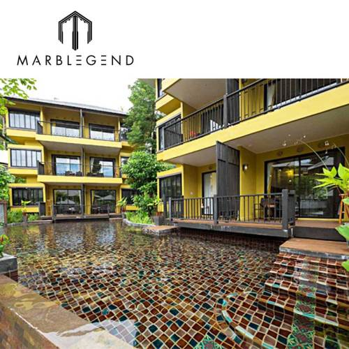 Custom designed brown glass mosaic tile for apartment outdoor pool
