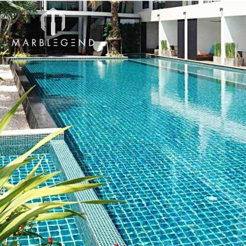 Green blue glass polished mosaics tiles for Outdoor big swimming pool