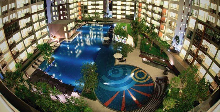 Customized design big swimming pool blue glass polished mosaics outdoor resort pool tiles-3