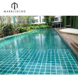 upscale green crackle glazed ceramic Mosaic tile for villa outdoor swimming pool
