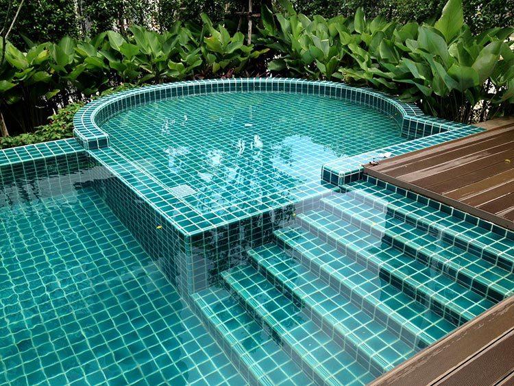 crackle glazed ceramic Mosaic tile upscale green swimming pool mosaics villa outdoor pool mosaic-1