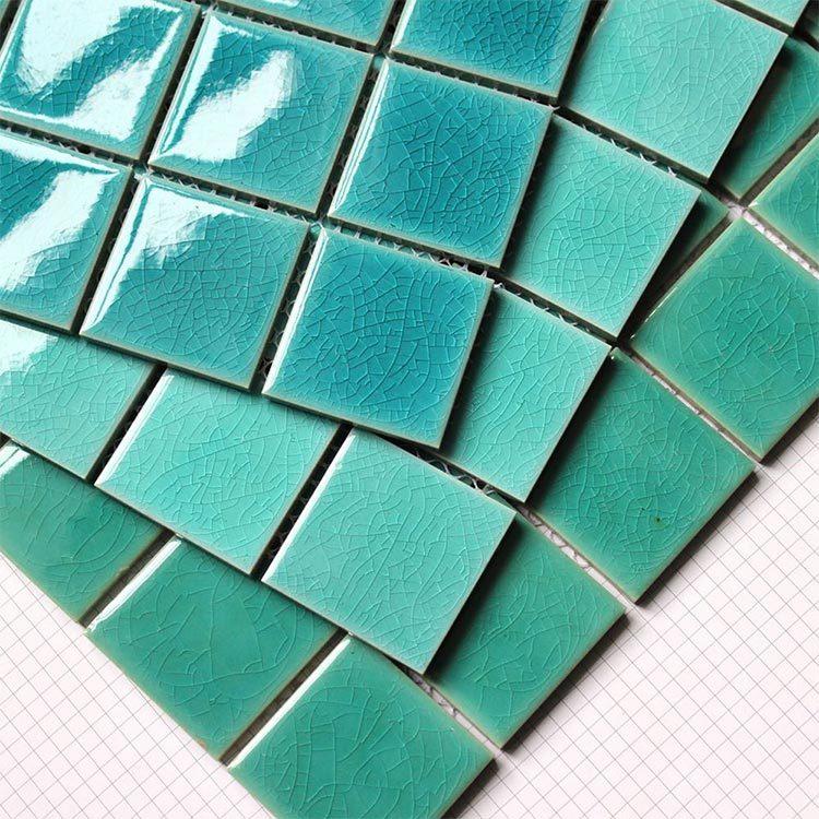 crackle glazed ceramic Mosaic tile upscale green swimming pool mosaics villa outdoor pool mosaic-5