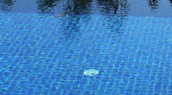 blue sea swimming pool mosaic tiles iridescent crystal glass Mosaic outdoor elevated Swimming Pool