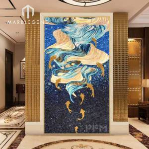Home decoration wall hanging blue golden ocean glass mosaic tiles mural