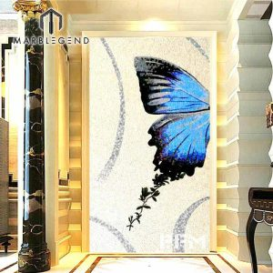 Beautiful blue butterfly art mosaic mural for floor wall bathroom kitchen
