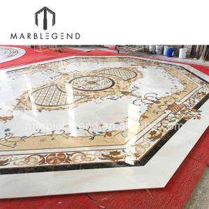 custom made beautiful special luxury beige waterjet marble medallion floor decoration for living room foyers