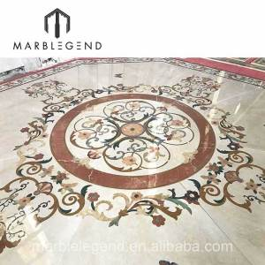 Custom big size waterjet medallion inlay marble luxury floral for entrance flooring