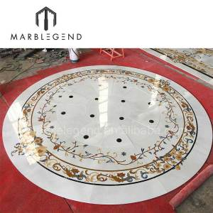 Inlay natural marble stone waterjet medallion border floor decoration for lobby hallway