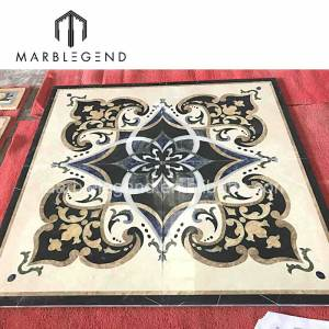 Factory customization high end  gold black marble waterjet for Luxury floor decoration