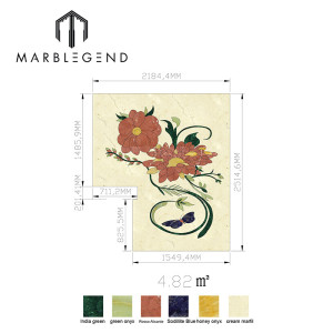 Custom flower pattern square design inlay marble stone waterjet for floor decoration