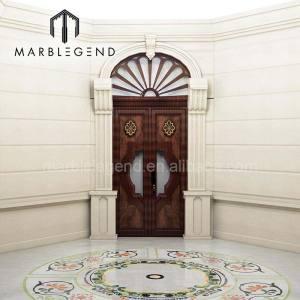 Custom unique design octagonal white marble waterjet tile for hallway foyer floor