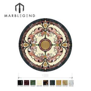 Factory custom design brown marble tile waterjet medallion for indoor floor