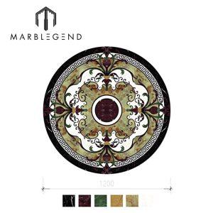 Marble mixed green onyx translucent waterjet medallion for luxury ballroom flooring