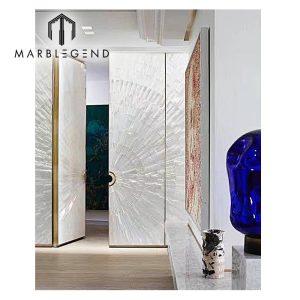 Special high-quality decoration natural shiny Selenite Crystal interior door mirror desktop wall decor