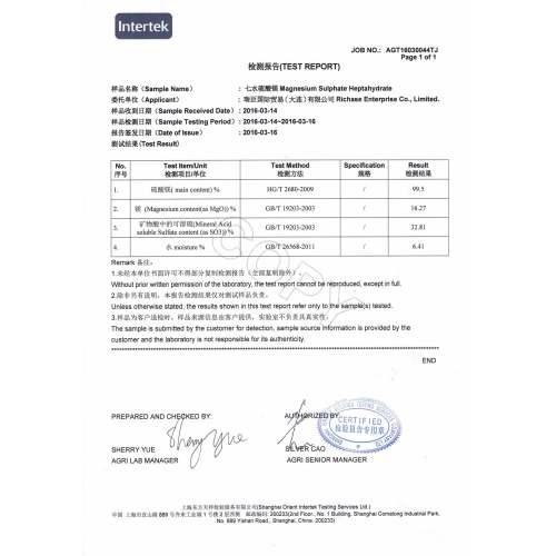 Intertek Test Report of Magnesium Sulphate Heptahydrate