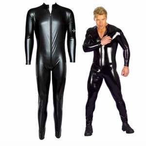 Big Mens Sexy Tight Leather Jumpsuit Bodysuit Sexy