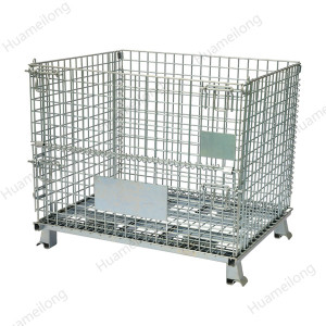 Warehouse logistic galvanized welded stackable foldable storage metal steel wire mesh container