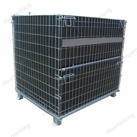 Zinc plated industrial PET Preform rigid collapsible folding stacking wire mesh container with PP sheet