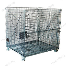 Industrial transport stackable galvanized folding steel welded lockable metal storage wire mesh cage
