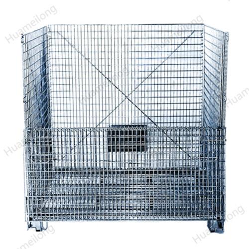 Industrial transport stackable galvanized folding steel welded lockable metal storage wire mesh cage