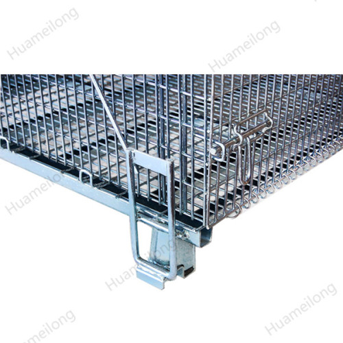 Industrial stackable storage folding steel metal wire mesh pallet container