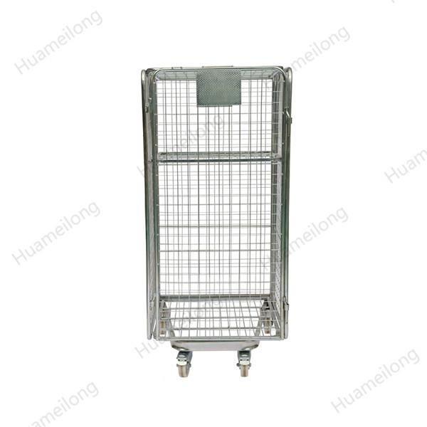 Envase de acero plegable galvanizado portátil del rollo de la malla de alambre de la seguridad del supermercado de la jerarquización de 4 lados